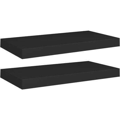 Floating Wall Shelves 2 pcs Black 50x23x3.8 cm MDF