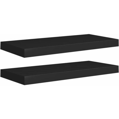 Floating Wall Shelves 2 pcs Black 60x23.5x3.8 cm MDF