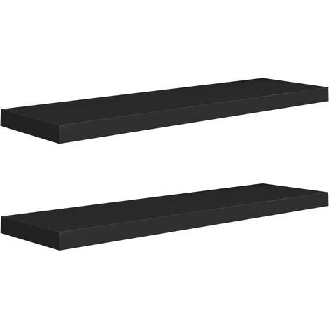 Floating Wall Shelves 2 pcs Black 90x23.5x3.8 cm MDF