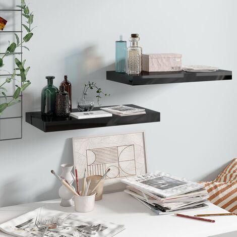Floating Wall Shelves 2 pcs High Gloss Black 50x23x3.8 cm MDF