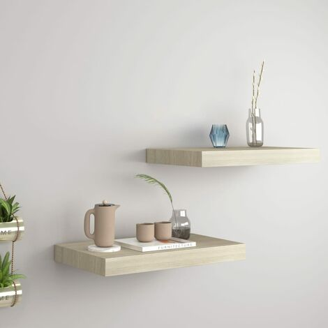Floating Wall Shelves 2 pcs Oak 40x23x3.8 cm MDF