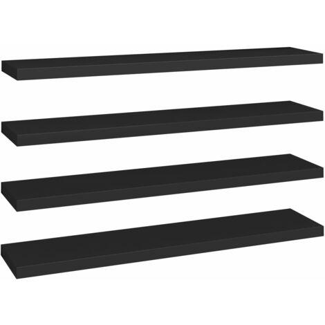 Floating Wall Shelves 4 pcs Black 120x23.5x3.8 cm MDF