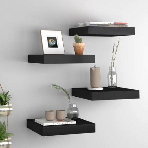 Floating Wall Shelves 4 pcs Black 23x23.5x3.8 cm MDF