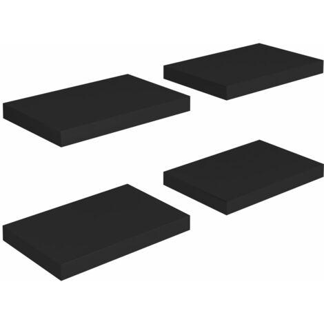 Floating Wall Shelves 4 pcs Black 40x23x3.8 cm MDF