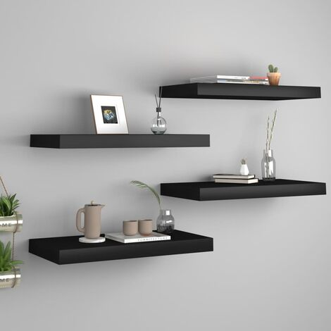 Floating Wall Shelves 4 pcs Black 50x23x3.8 cm MDF