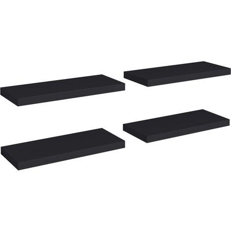 Floating Wall Shelves 4 pcs Black 60x23.5x3.8 cm MDF