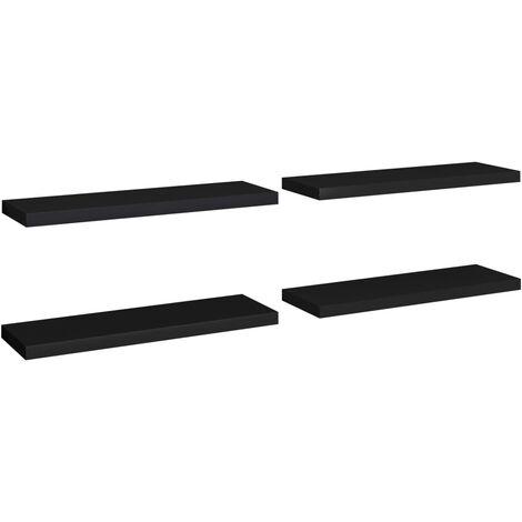 Floating Wall Shelves 4 pcs Black 80x23.5x3.8 cm MDF