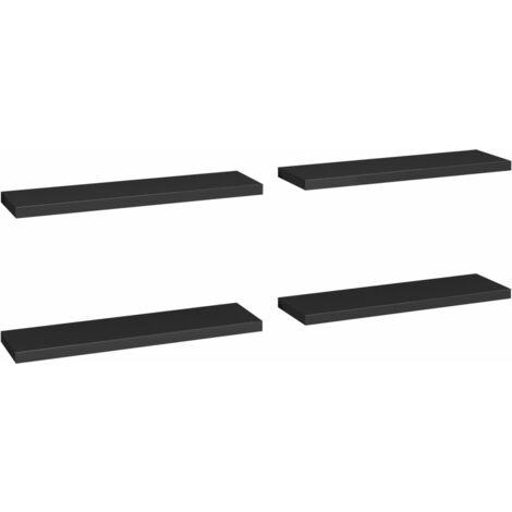 Floating Wall Shelves 4 pcs Black 90x23.5x3.8 cm MDF
