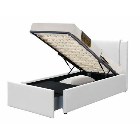 Floki lit coffre pu blanc 90x190 cm 1 tiroir - Blanc