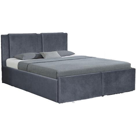 Floki lit coffre velours gris 180x200 cm 2 tiroirs - Gris