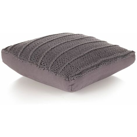 Floor Cushion Square Knitted Cotton 60x60 cm Grey