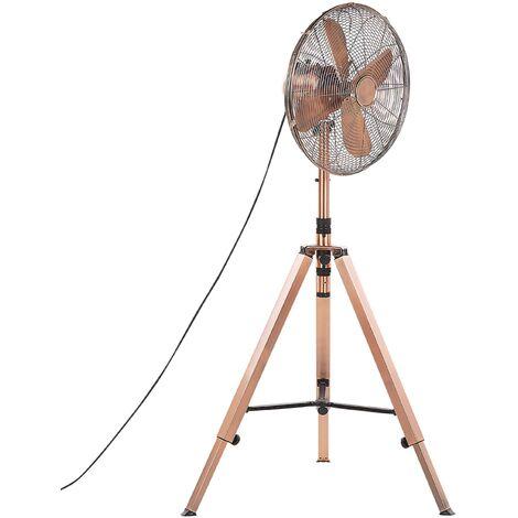 Floor Fan Standing Height Adjustable Oscillating Various Speeds Copper Medway