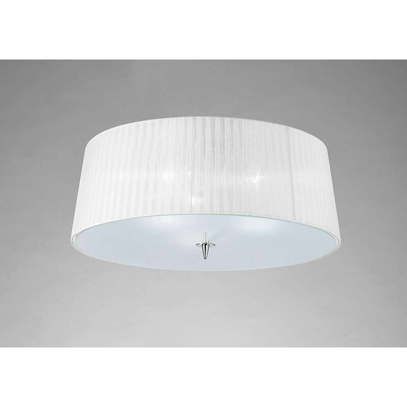 Image of 09-diyas - Ceiling lamp Loewe 3 Bulbs E27, polished chrome with white shade