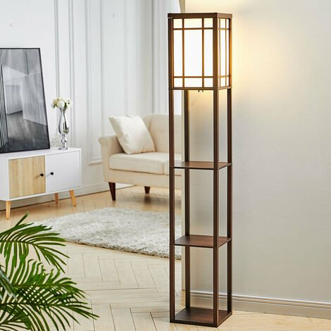Floor Lamp 4 Tiered Shelfves Carving Design Storage Rack Living Room,Walnut Brown Checkered Carved
