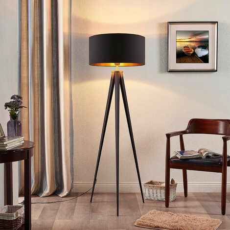 Floor Lamp 'Benik' (modern) in Black made of Textile (1 light source, E27, A++) from Lindby   Standard Lamp