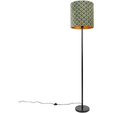 Floor lamp black shade peacock design gold inside 40 cm - Simplo