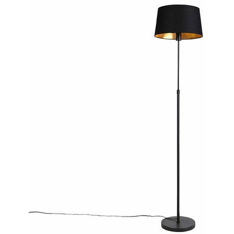 Floor Lamp Black with 35cm Black Cotton Shade - Parte