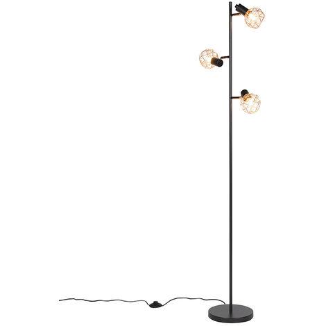 Floor lamp black with copper 3-light - Mesh