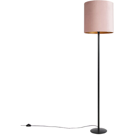 Floor lamp black with velor shade pink with gold 40 cm - Simplo