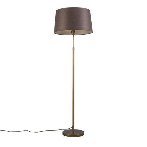 Floor Lamp Bronze with 45cm Brown Linen Shade - Parte