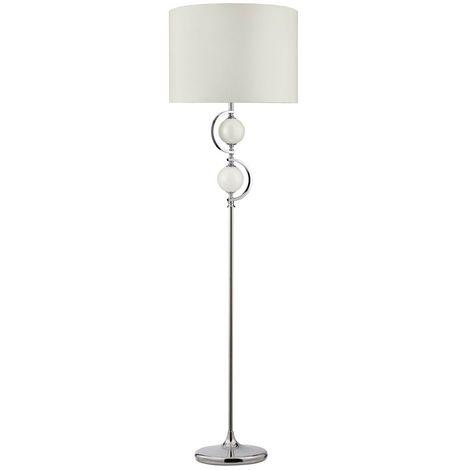 FLOOR LAMP - CHROME WITH WHITE GLASS BALLS & DRUM SHADE
