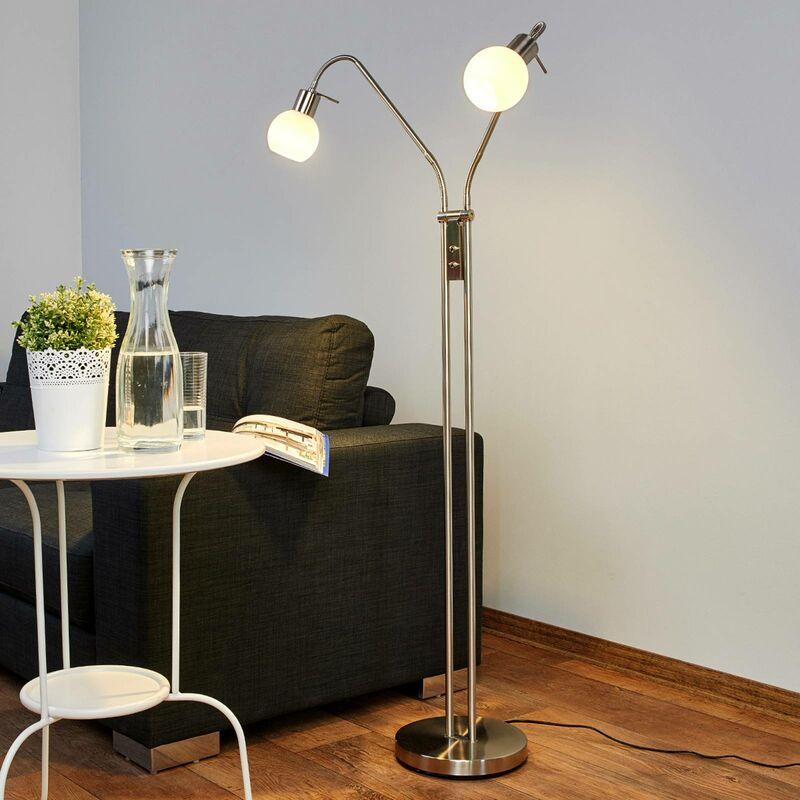 Image of 2-bulb LED floor lamp Elaina, nickel matte - LAMPENWELT