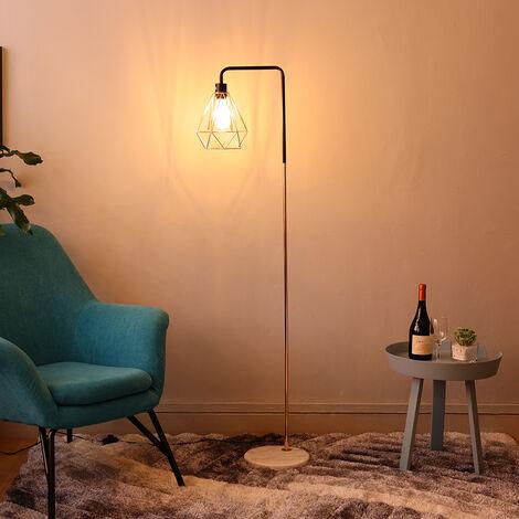 Floor Lamp Geometric Lampshade Solid Marble Base