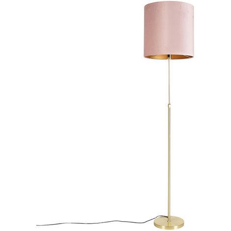 Floor Lamp Gold/Brass with 40/40cm Pink Velvet Shade - Parte