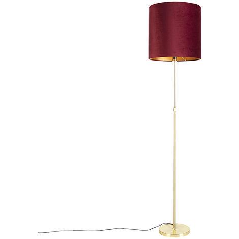 Floor Lamp Gold/Brass with 40/40cm Red Velvet Shade - Parte