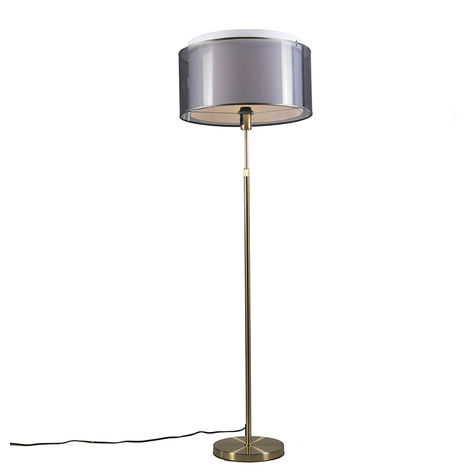 Floor Lamp Gold/Brass with 47cm Black/White Shade - Parte