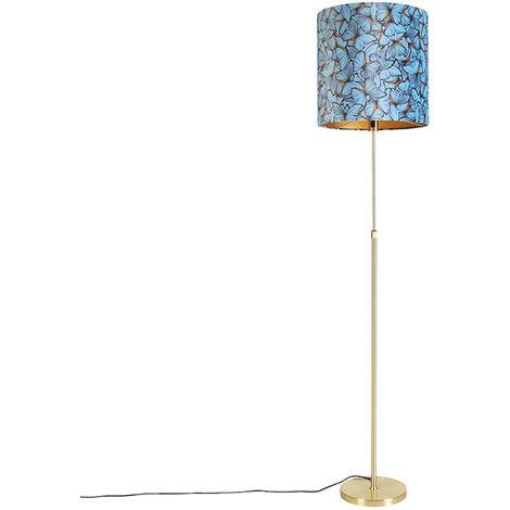 Floor lamp gold / brass with velor shade butterflies 40/40 cm - Parte