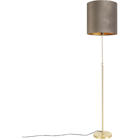 Floor lamp gold / brass with velvet shade taupe 40/40 cm - Parte