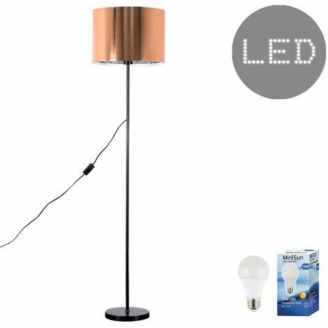 the latest 64849 04939 Floor Lamp in Black + Copper Light Shade + 10w LED GLS Bulb - 3000K Warm  White