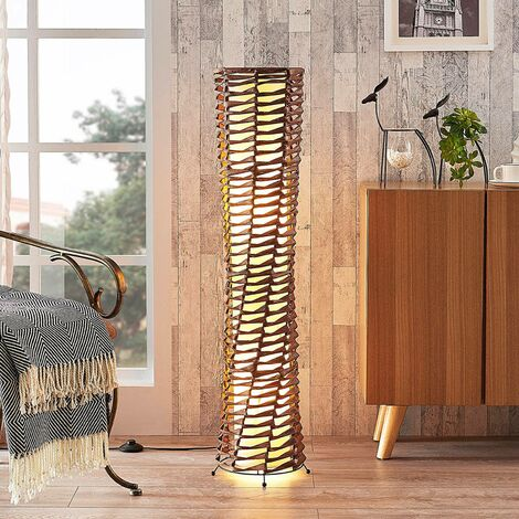 Floor Lamp 'Joas' (modern) in Brown made of Paper (2 light sources, E27, A++) from Lindby   Standard Lamp