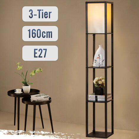 Floor Lamp Modern Standing 3-in-1 Shelf LED Lamp Skinny End Table & Nightstand with Storage