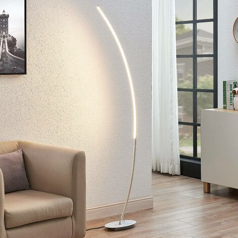 Floor Lamp 'Nalevi' (modern) in Silver made of Metal (1 light source, A+) from Lindby   Standard Lamp, Arc Lamps