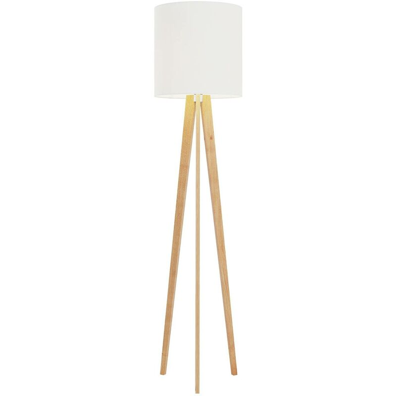 Image of Floor Lamp 'Nida' (design) in Brown made of Wood (1 light source, E27, A++) from Lucande | Standard Lamp