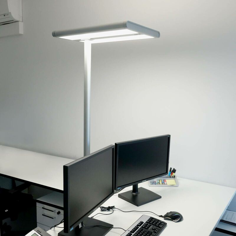 Image of Arcchio - Floor Lamp 'Quirin' in Silver made of Aluminium for e.g. Office & Workroom (A+) from Standard Lamp, Uplighter, Business Lighting