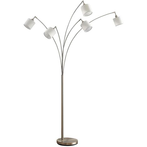 Floor Lamp 'Stannis' (modern) in White made of Metal (5 light sources, E14, A++) from Lindby   Standard Lamp, Arc Lamps