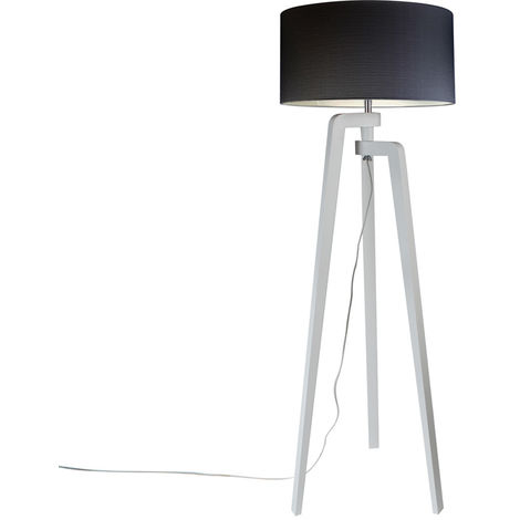 Floor lamp tripod white with shade 50 cm black - Puros