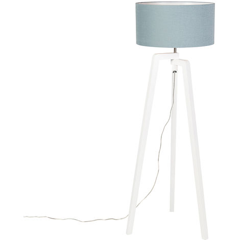 Floor lamp tripod white wood with mineral shade 50 cm - Puros