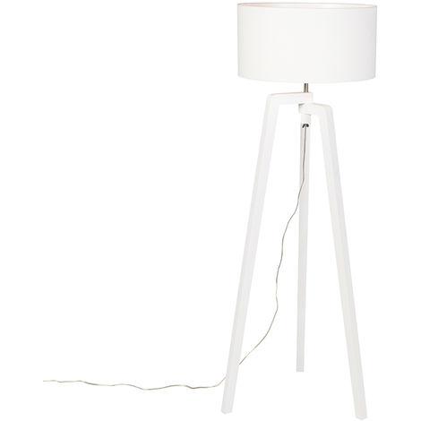 Floor lamp tripod white wood with white shade 50 cm - Puros