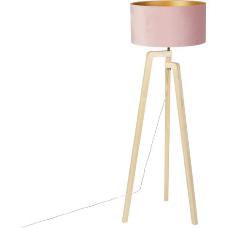 Floor lamp tripod wood with pink velor shade 50 cm - Puros