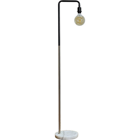 Floor Lamp + White Marble 6W LED Filament Light Bulb Warm White - Brushed Chrome - Silver