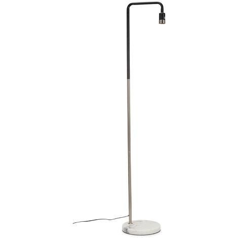 Floor Lamp + White Marble - Brushed Chrome - Black