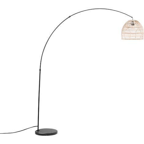 Floor Lamp with Rattan Shade Black GUAVIARE