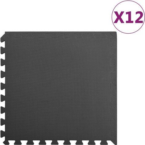 Floor Mats 12 pcs 4.32 銕?EVA Foam Black - Black