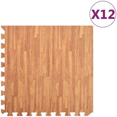 Floor Mats 12 pcs Wood Grain 4.32 銕?EVA Foam - Brown