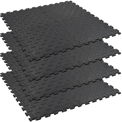 Floor Mats 4 pcs Anti-Slip Rubber 60x60 cm 12 mm Groove