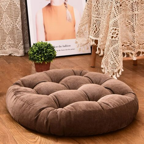 """main image of """"Floor Pillow, Round shape Tufted Seat Cushion Thicken Corduroy Meditation Pillow Tatami Floor Cushion for Yoga Living Room Balcony Office Outdoor, Brown, 22x22 Inch"""""""